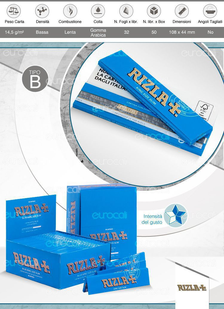 Cartine Rizla Blu lunghe Slim Size king