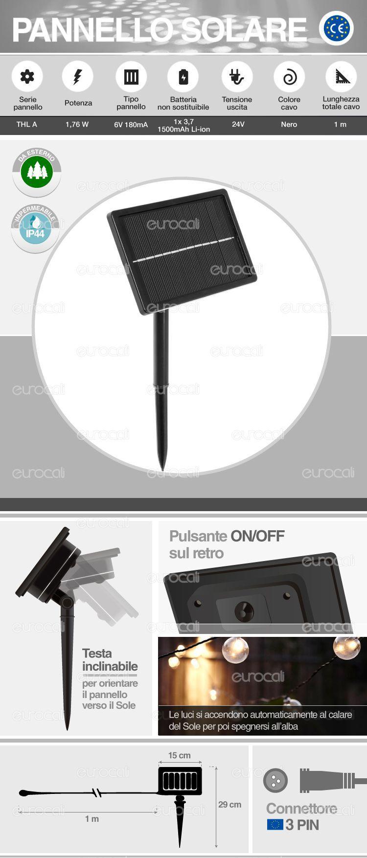 Pannello Solare Per Drone : Pannello solare con batteria interna per esterno thl a v