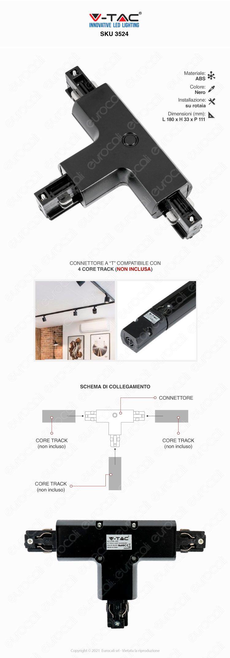 V-Tac connettore nero sku 3524
