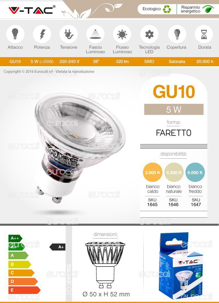 V tac vt 1959 lampadina led gu10 5w faretto spotlight for Lampadina gu10