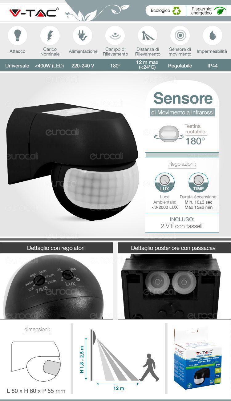 V-Tac VT-8028 Sensore di Movimento a Infrarossi per Lampadine