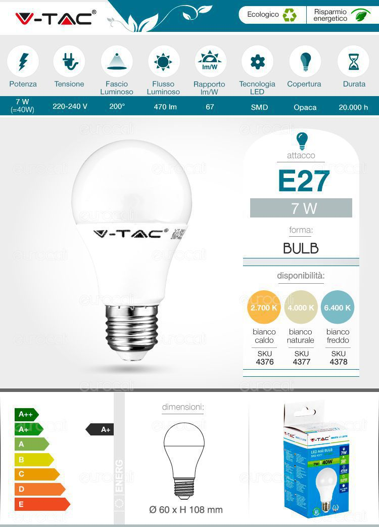 lampadina v-tac E27