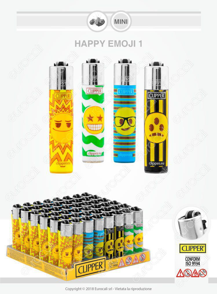 4 Accendini Clipper Micro Fantasia Happy Emoji 1