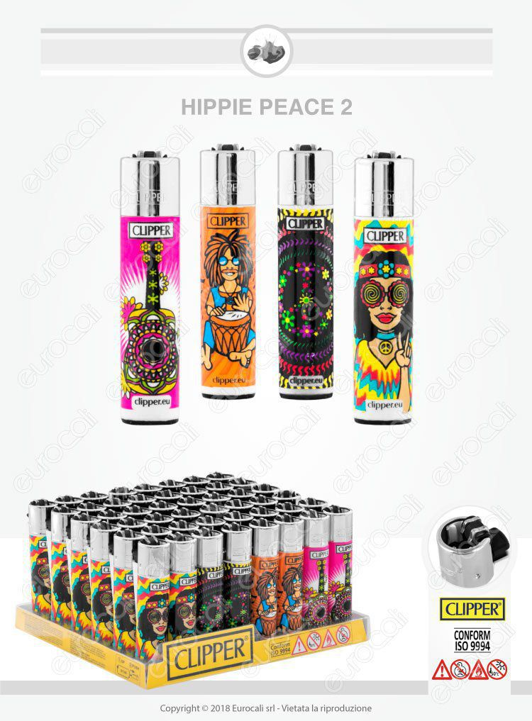 Clipper Large Fantasia Hippie Peace 2 Box da 48 Accendini