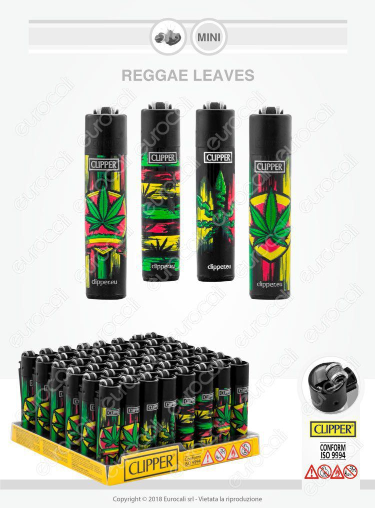Clipper Micro Reggae Leaves Box da 48 Accendini