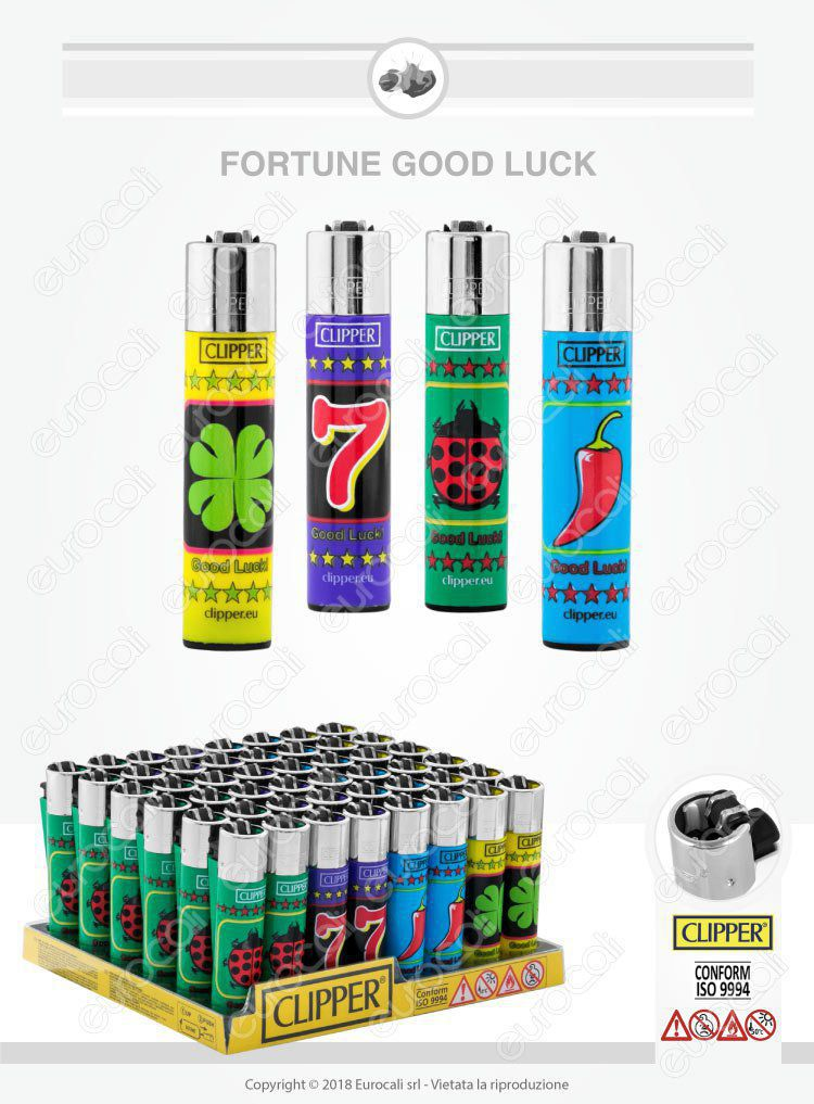 Clipper Large Fantasia Fortune Good Luck Box da 48 Accendini