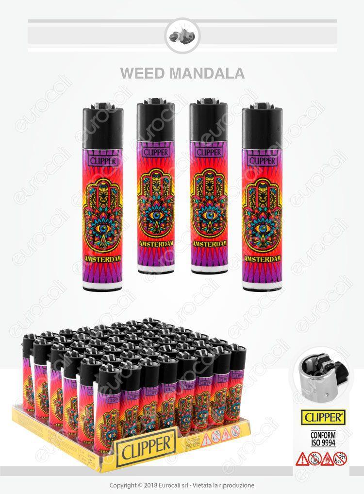 Box da 48 Accendini Clipper Large Fantasia Weed Mandala