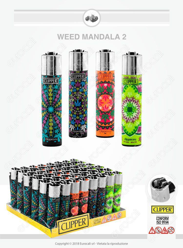 4 Accendini Clipper Large Fantasia Weed Mandala 2
