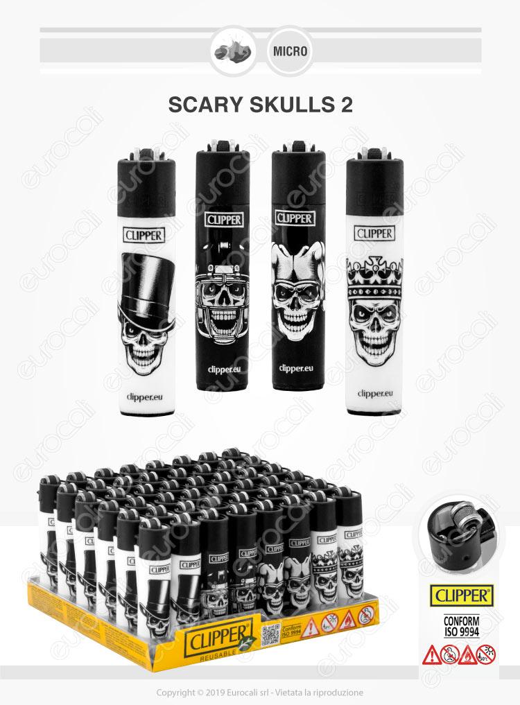 Clipper Micro Fantasia Scary Skulls 2 - 4 Accendini