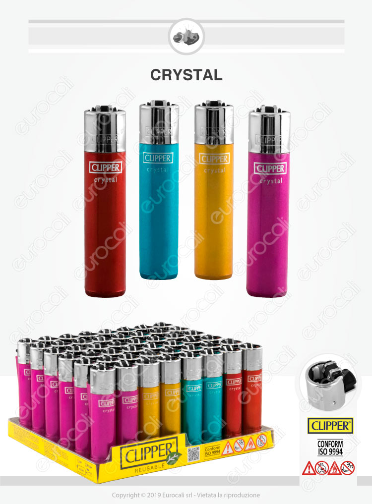 Clipper Large Fantasia Crystal - Box da 48 Accendini