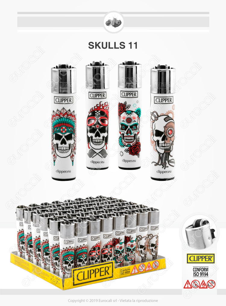 Clipper Large Fantasia Skulls 11 - Box da 48 Accendini