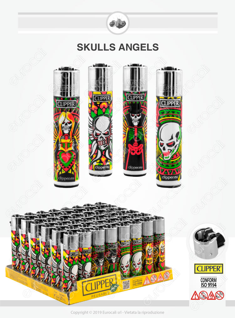 Accendini Clipper Large Fantasia Skulls Angels - Box da 48