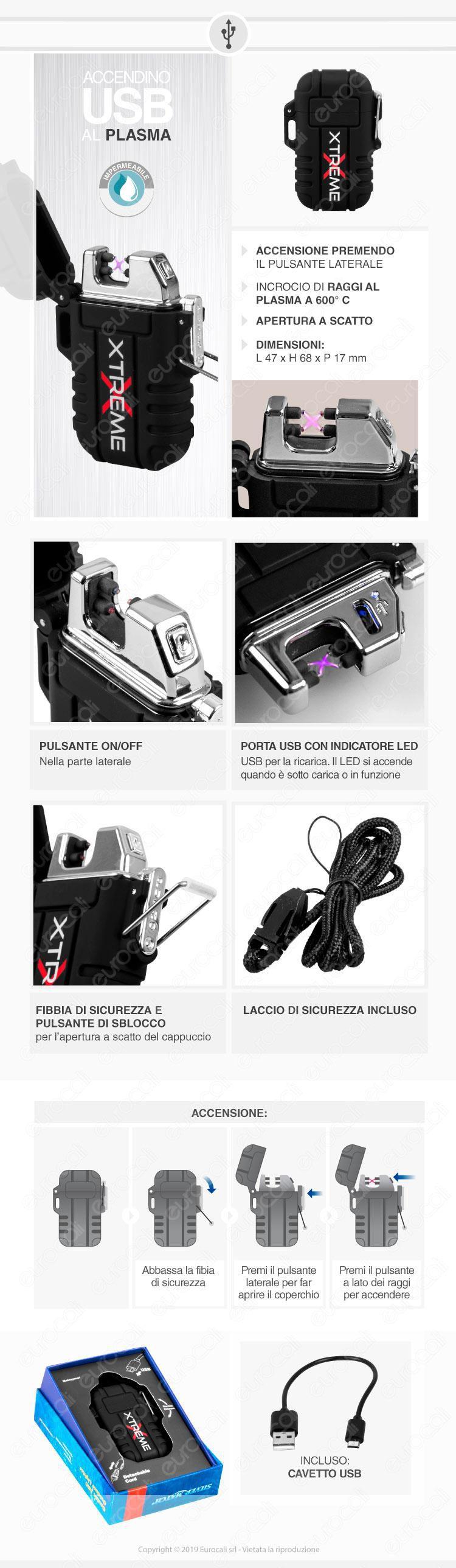 Silver Match Accendino USB con Doppio Arco al Plasma Impermeabile - 1 Accendino Nero