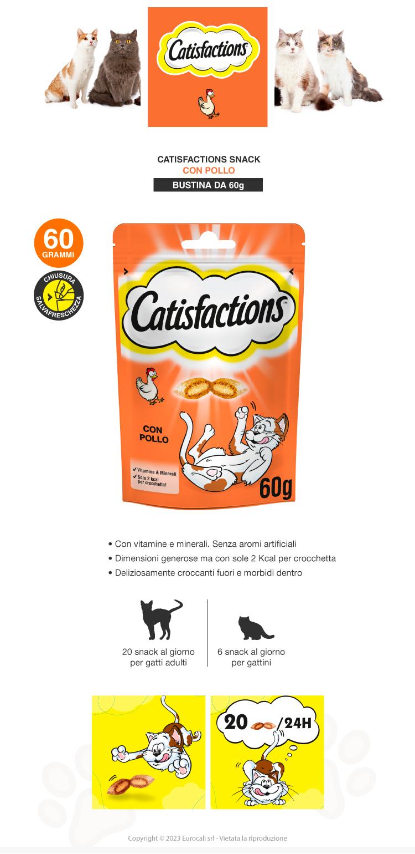 catisfactions snack croccanti al pollo per gatti 60g
