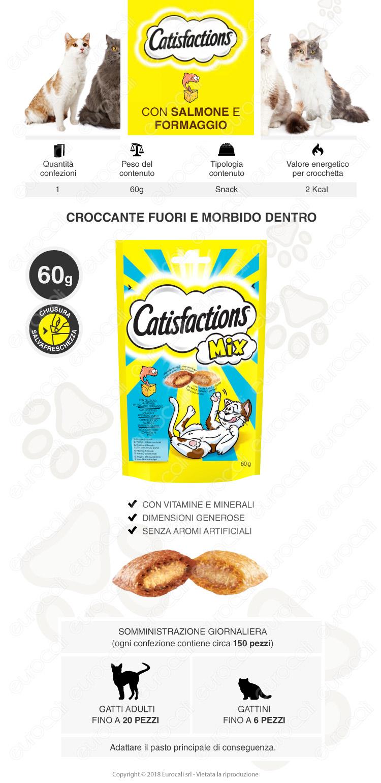 Snack al Salmone e Formaggio per Gatti Catisfactions Mix