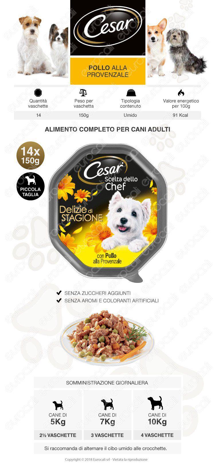 Cesar Scelta dello Chef Delizie di Stagione Cibo per Cani con Pollo alla Provenzale 14 Vaschette da 150g