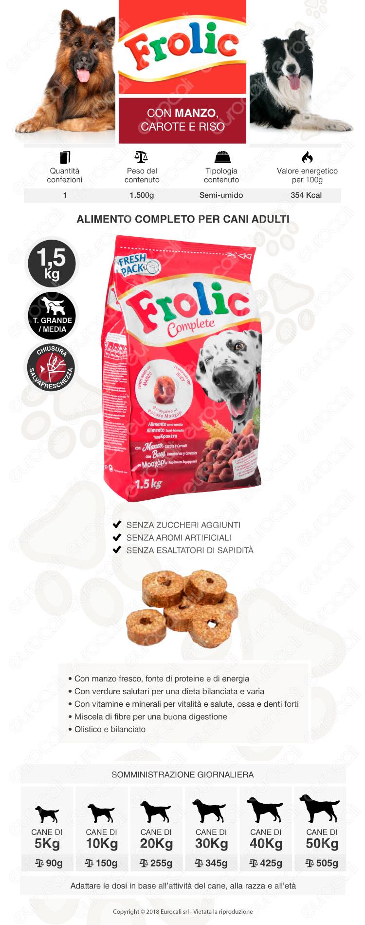 Cibo Semi Umido per Cani Frolic con Manzo, Carote e Riso da 1,5Kg