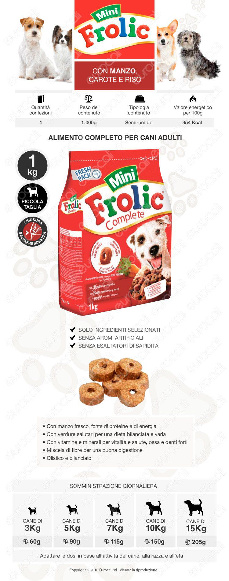 Frolic Mini Cibo Semi Umido per Cani con Manzo, Carote e Riso da 1Kg