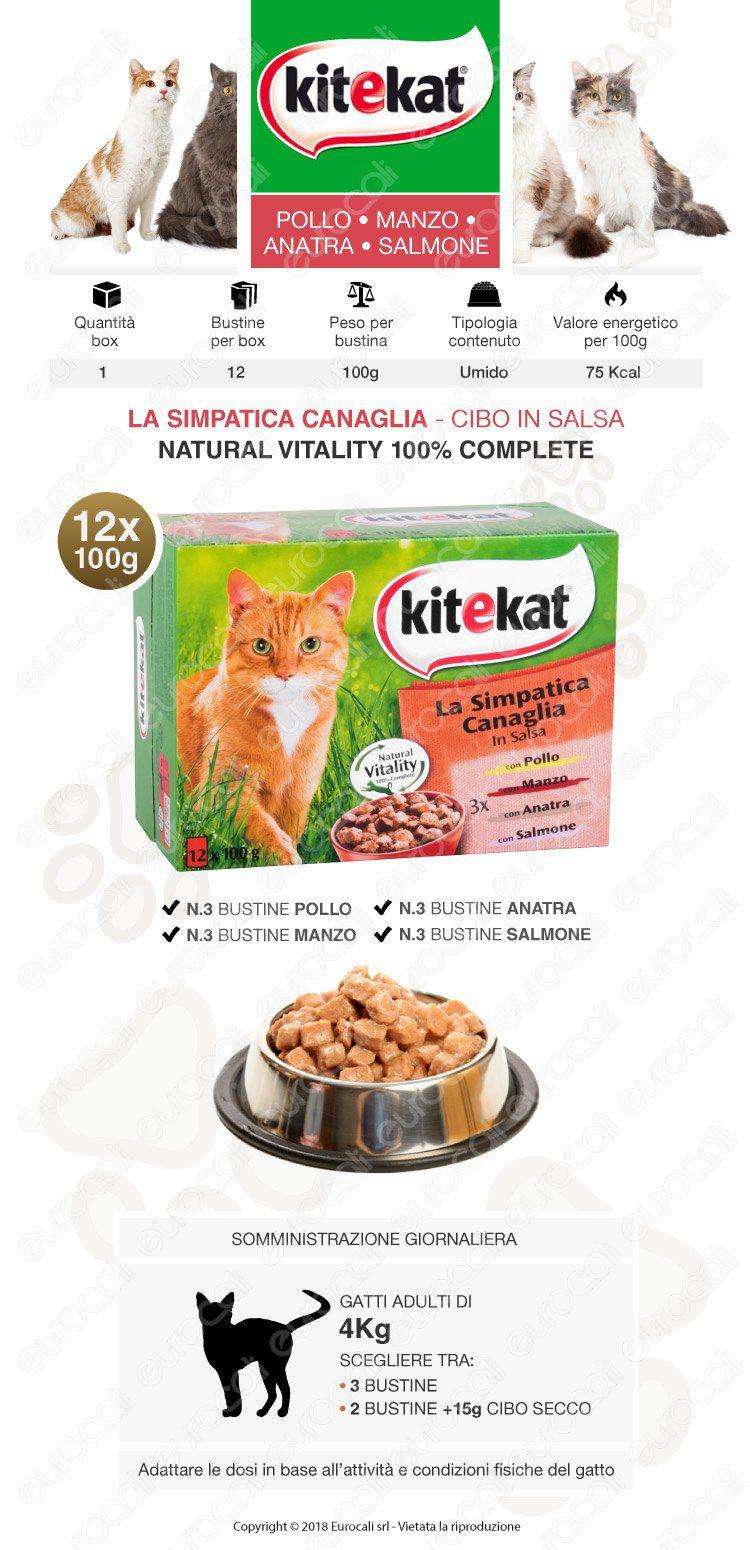 Kitekat La Simpatica Canaglia Cibo umido per Gatti con Pollo, Manzo, Anatra e Salmone - 12 Bustine da 100g