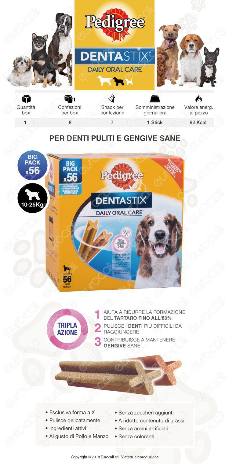 Pedigree Dentastix Medium per l'igiene orale del cane - Confezione da 56 Stick