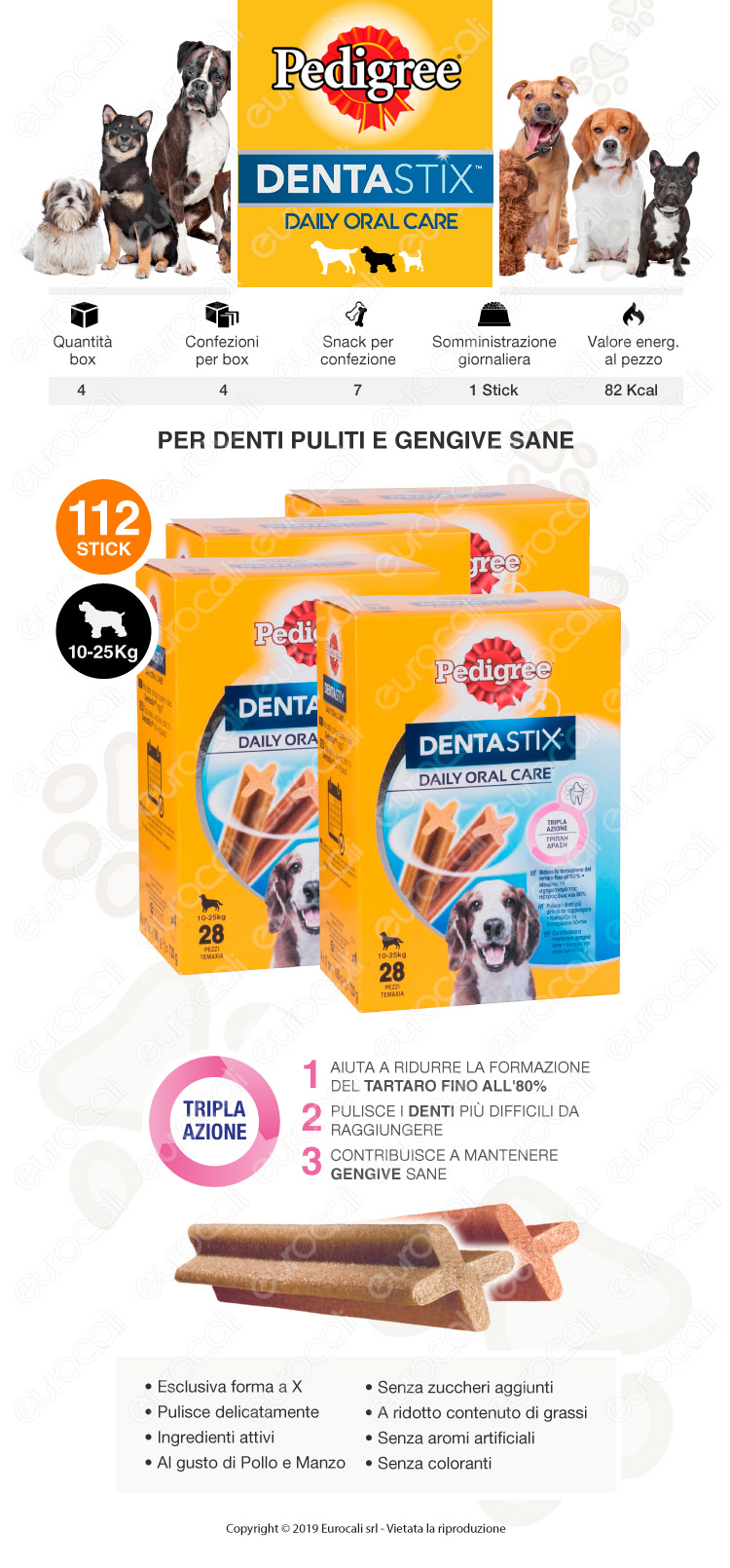 Pedigree Dentastix Medium per l'igiene orale del cane - 4 Confezioni da 28 Stick
