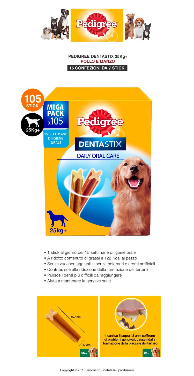 Pedigree Dentastix Large per l'igiene orale del cane Confezione da 105 Stick