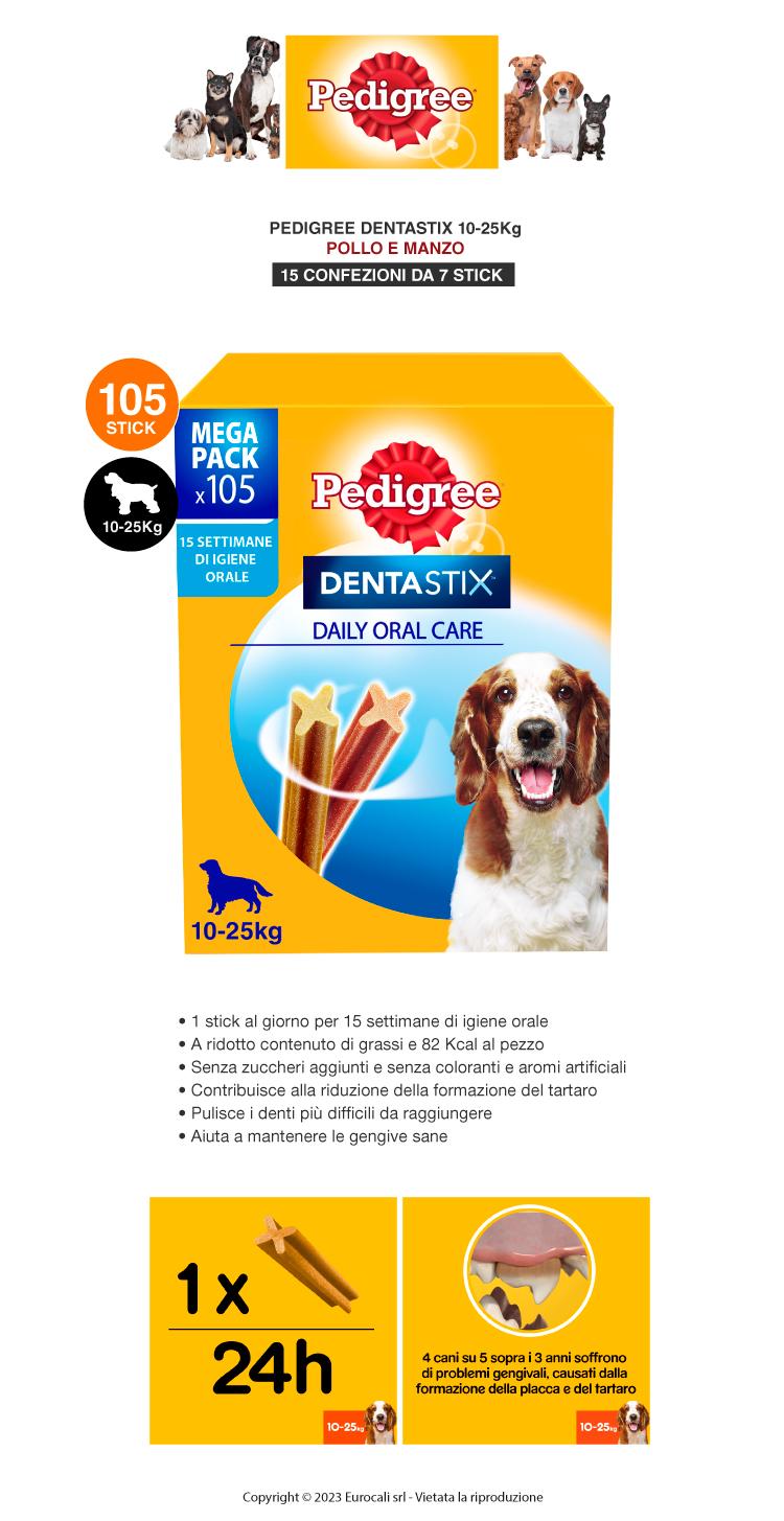 Pedigree Dentastix Medium per l'igiene orale del cane - Confezione da 105 Stick