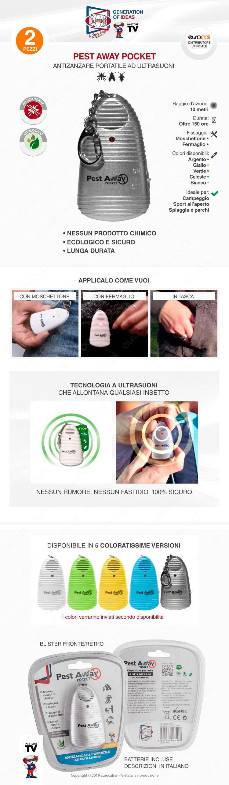 kit 2 intergross pest away pocket antizanzare portatile ad ultrasuoni