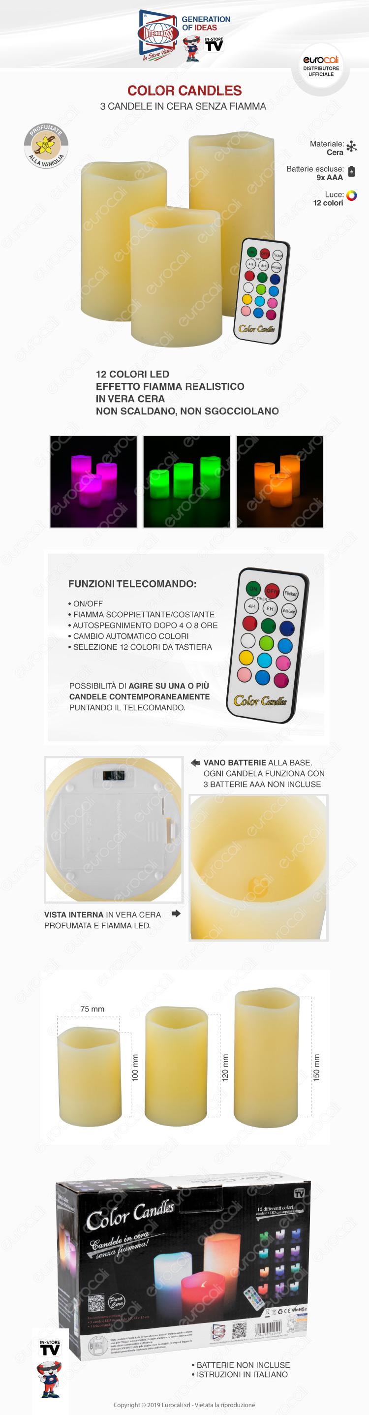 Intergross color candles 3 candele LED RGB in vera cera con telecomando