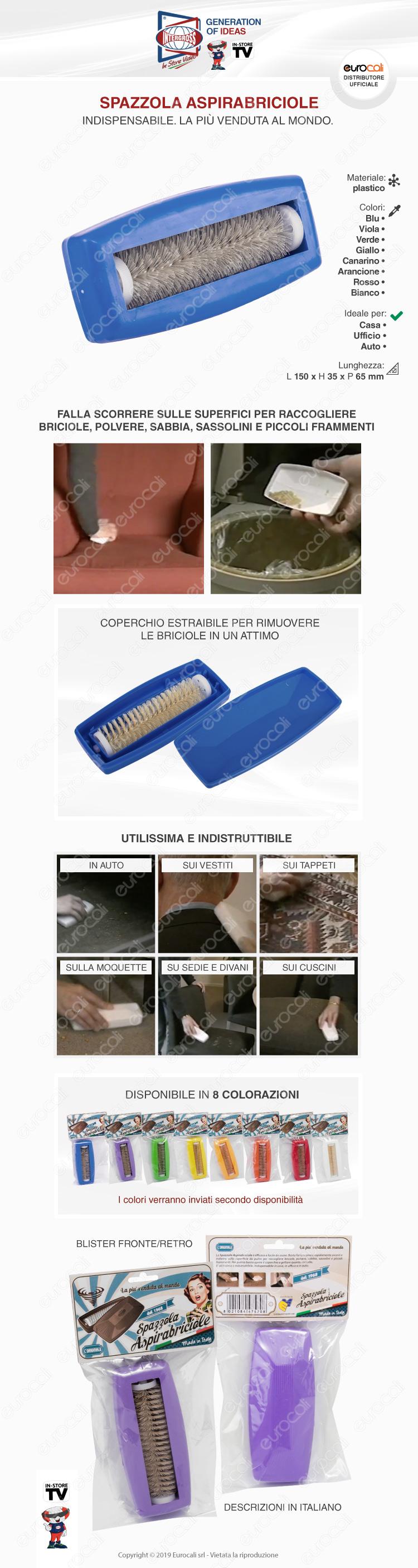 Intergross Spazzola Aspirabriciole Manuale con Rullo