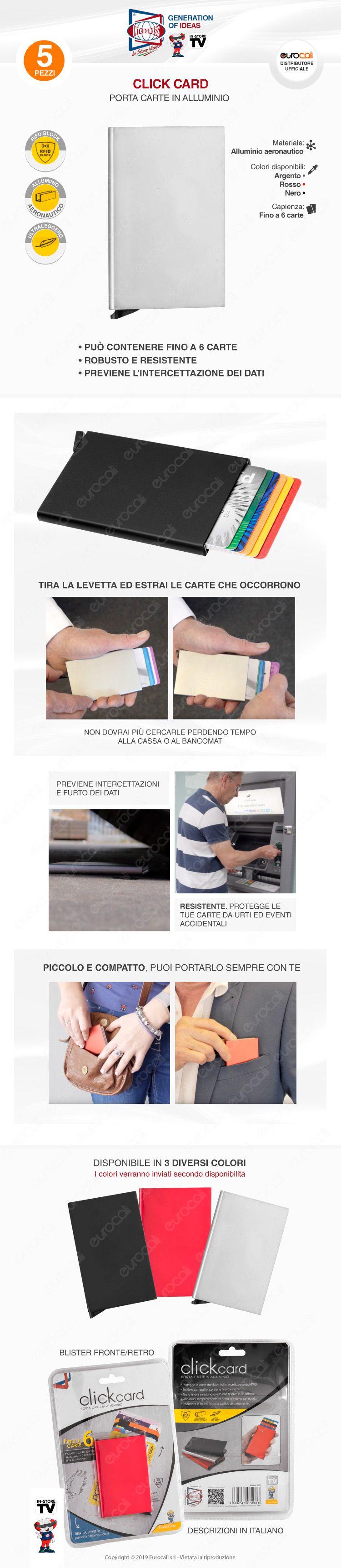 Kit 5 Click Card Intergross Porta Carte in Alluminio Ultra Leggero con RFID Block