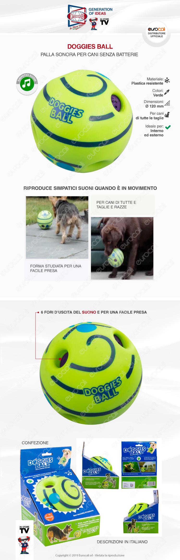 Intergross Doggies Ball Palla Sonora in Plastica per Cani