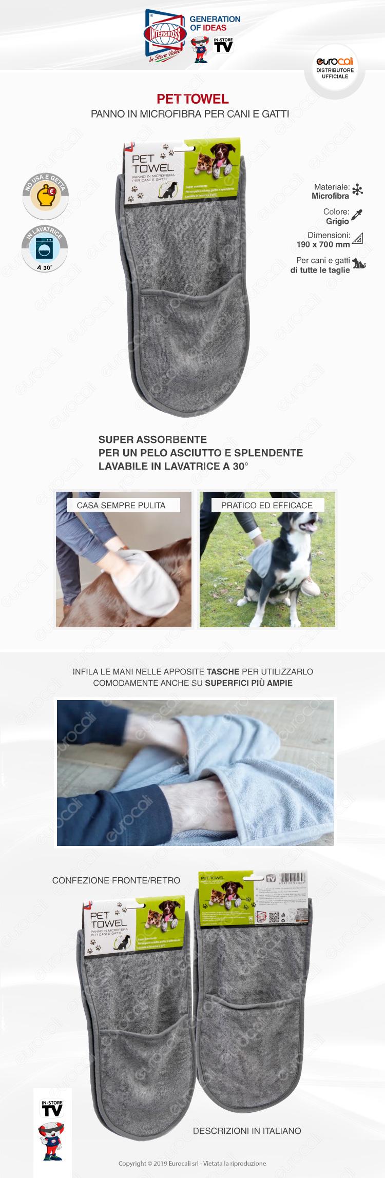 Intergross Pet Towel Panno in Microfibra per la Pulizia di Cani e Gatti