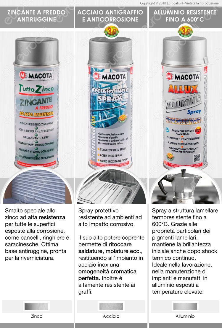 Pittura Resistente Ai Graffi dettagli su macota metalli zincante alluminio acciaio inox vernice spray  zinco non cola•