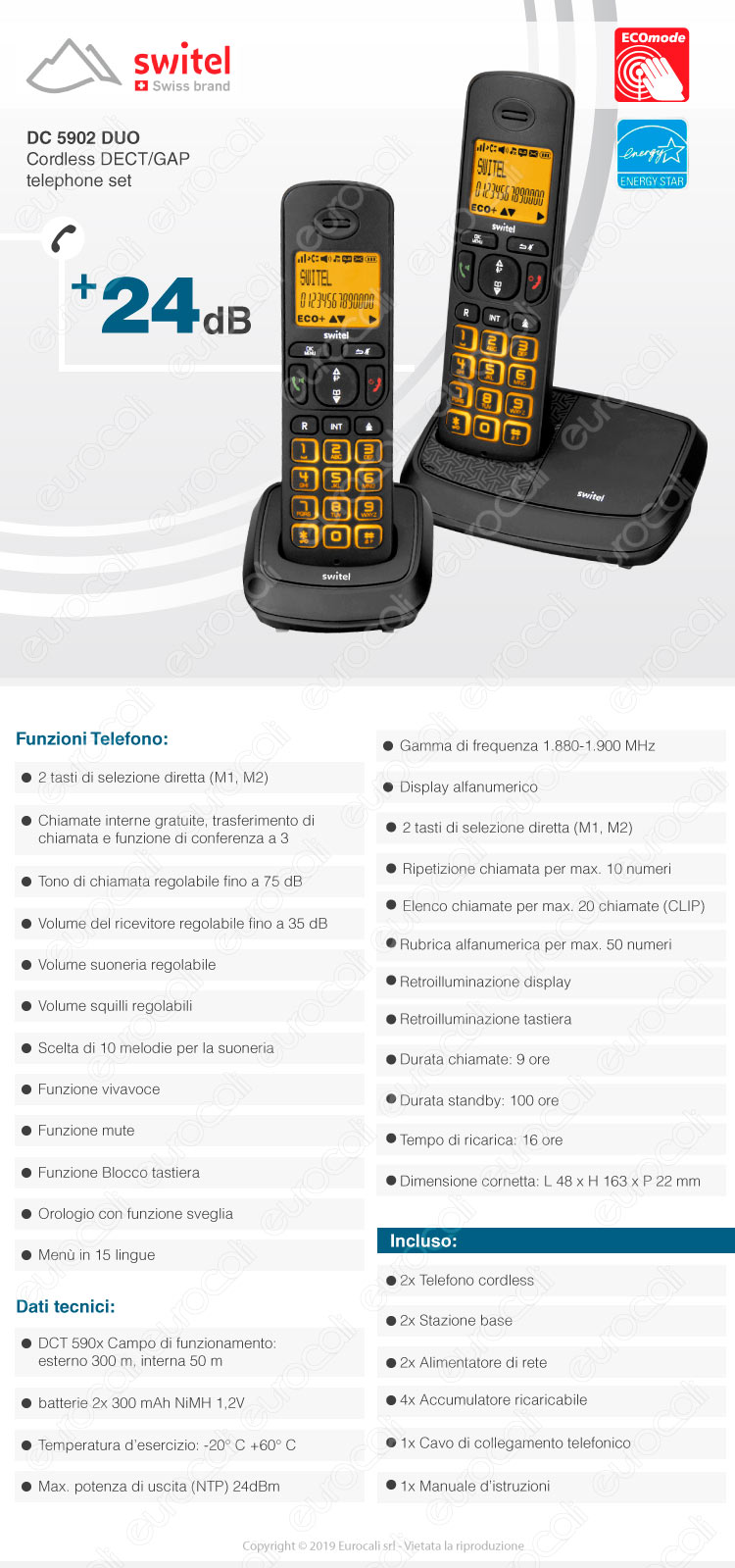 Switel Telefono cordless dect gap