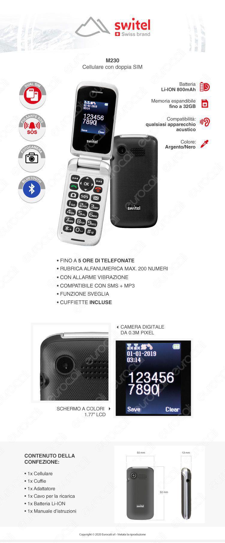Switel M230 Mobile Telefono Cellulare per Portatori di Apparecchi Acustici