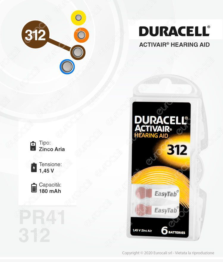Pile protesi acustiche Duracell