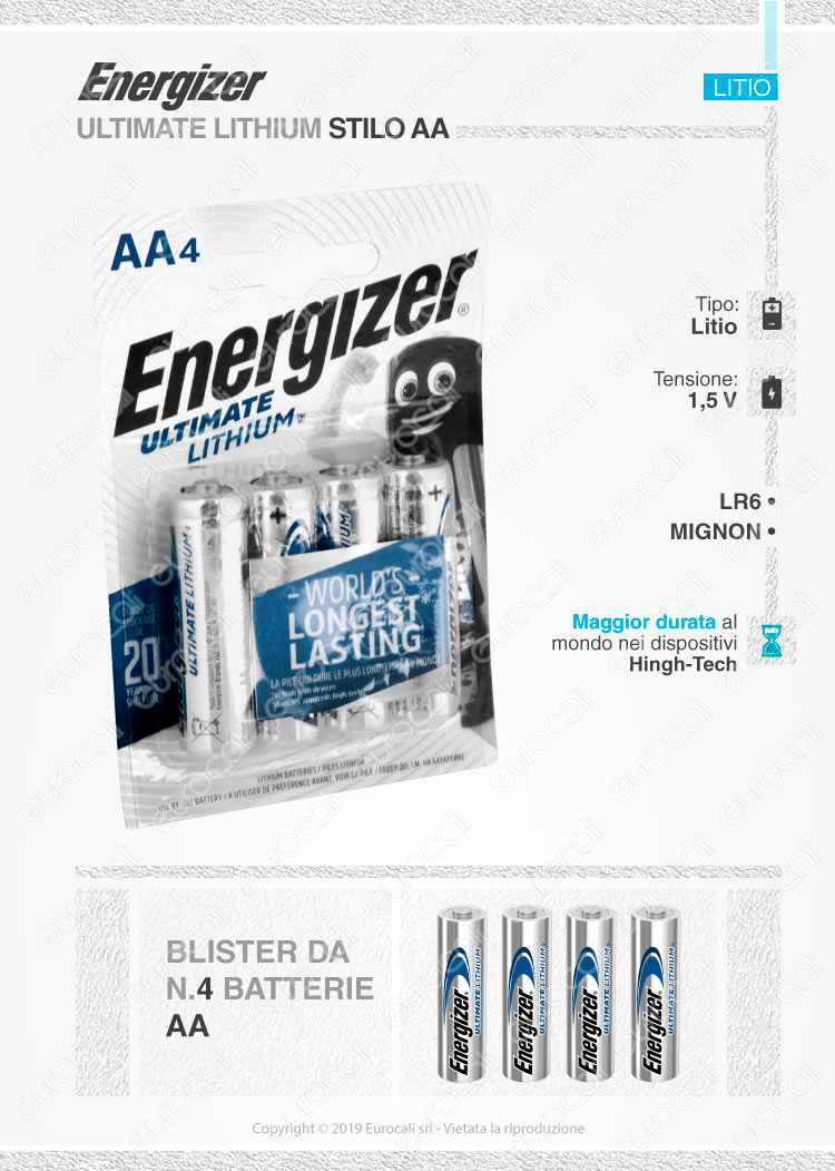 energizer ultimate lithium stilo litio aa lr6 blister 4 batterie. Black Bedroom Furniture Sets. Home Design Ideas