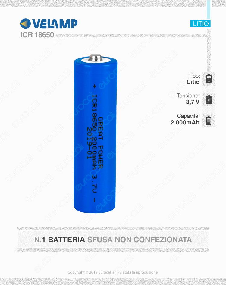Velamp Batteria al Litio ICR18650 - Batteria Singola
