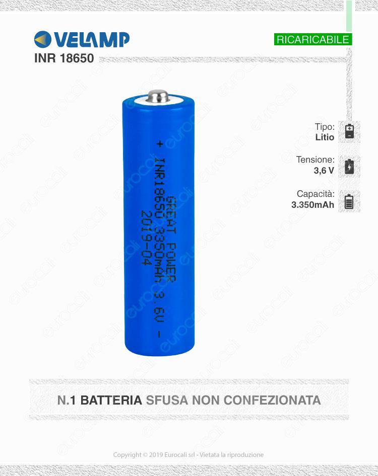 Velamp Batteria al Litio INR18650 - Batteria Singola