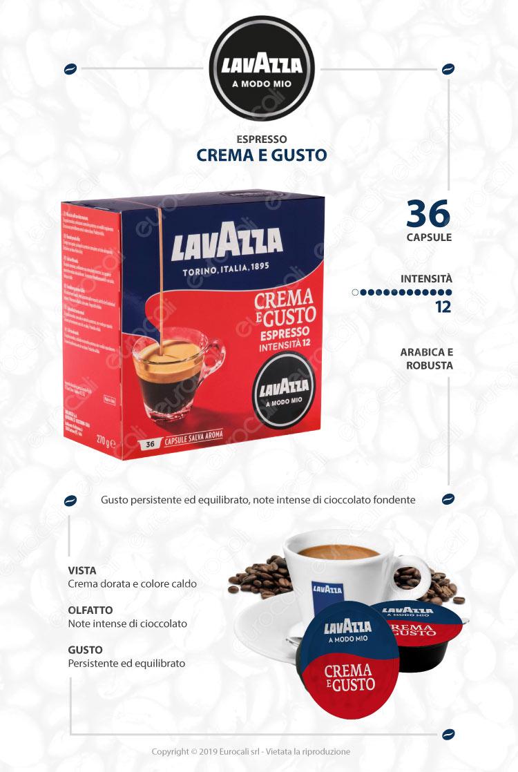 36 Capsule Caffè Lavazza Espresso Crema e Gusto - Cialde Compatibili Lavazza A Modo Mio