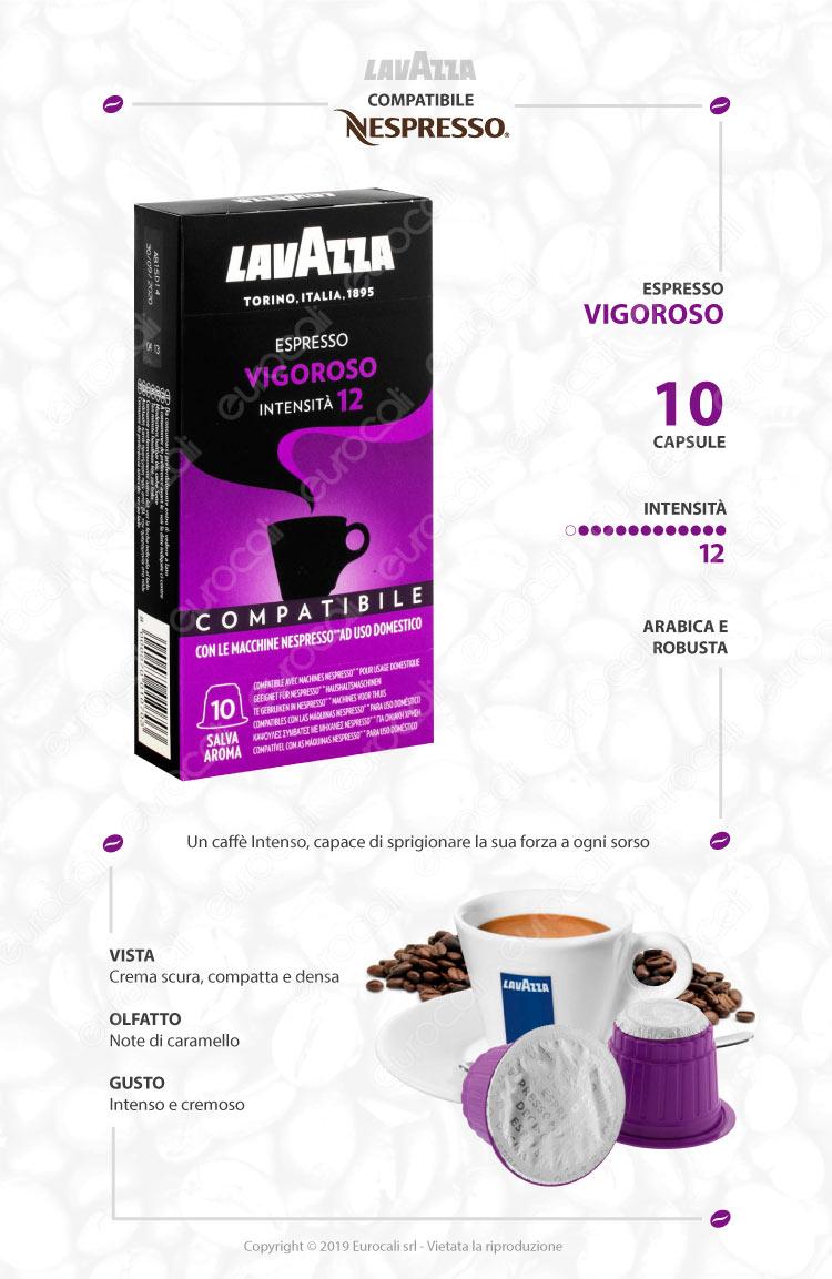10 Capsule Caffè Lavazza Espresso Vigoroso - Cialde Compatibili Nespresso