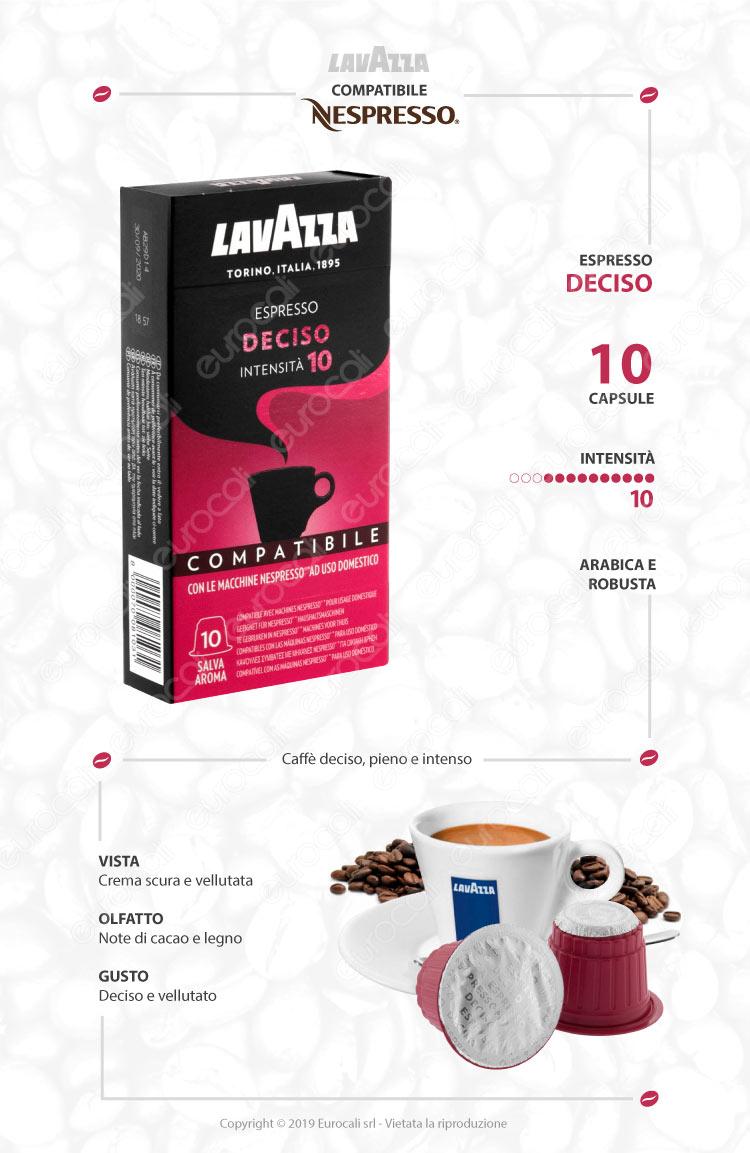 Capsule Caffè Lavazza Espresso Deciso Cialde Compatibili Nespresso
