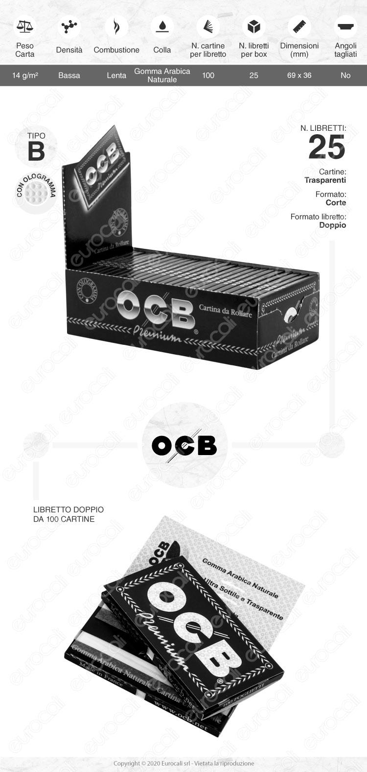 Cartine OCB Nere Premium Corte Doppie