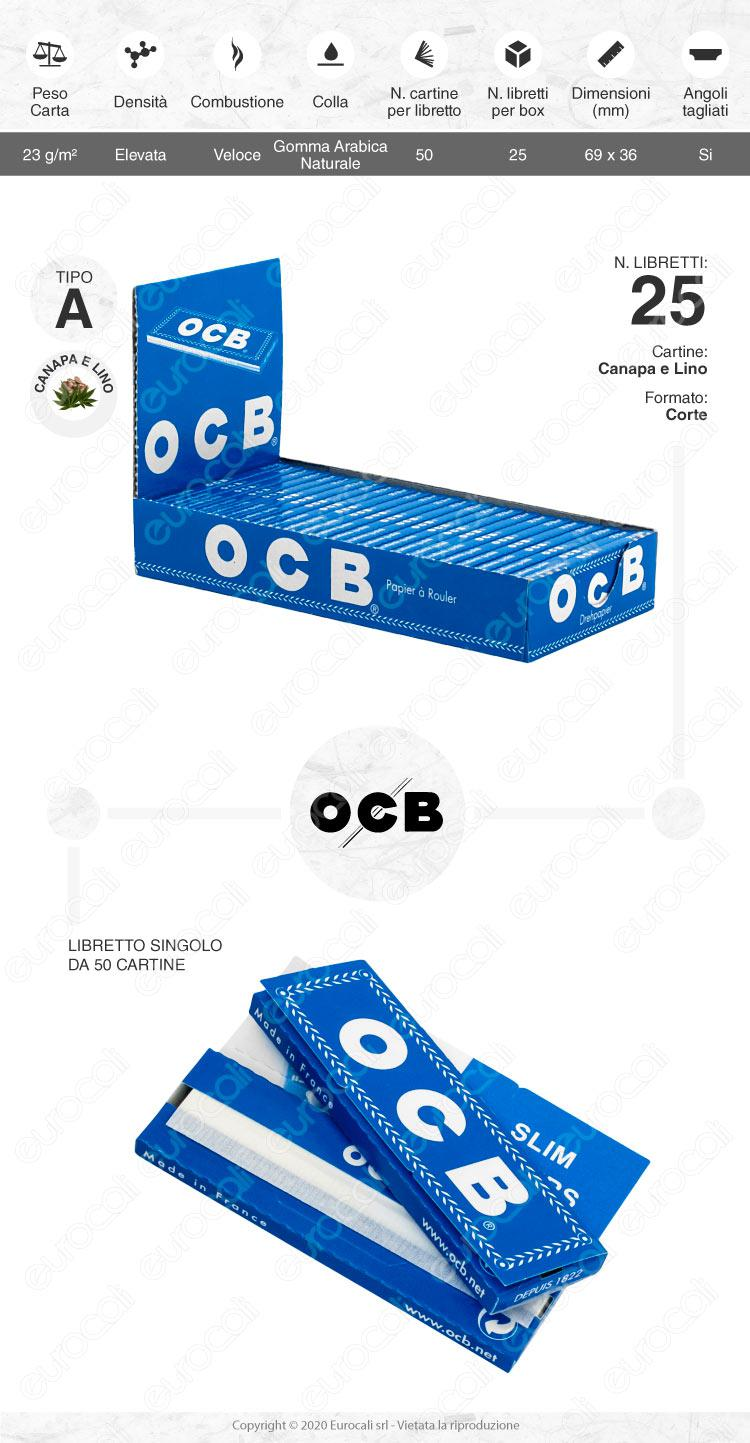 Cartine OCB Blu Canapa Lino