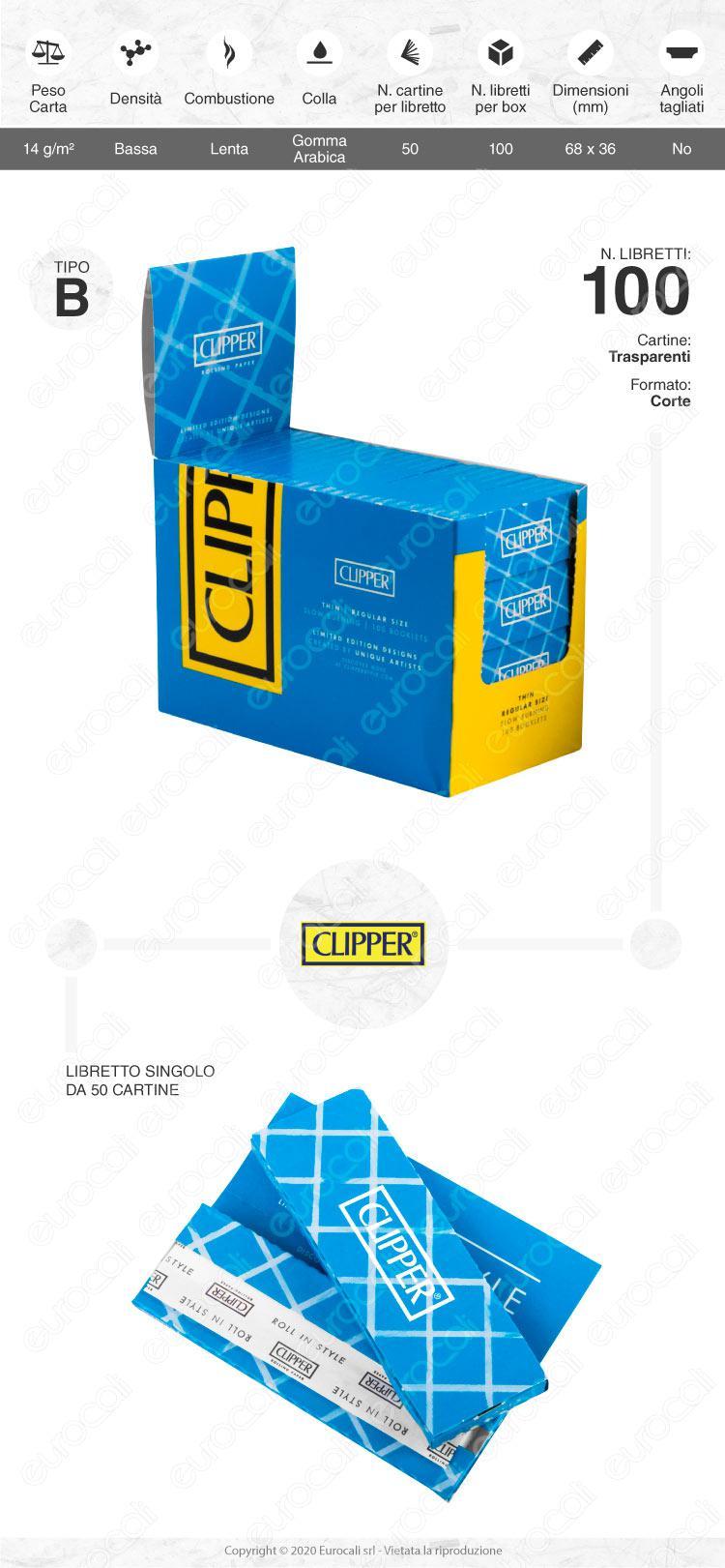 Cartine Clipper Blu corte