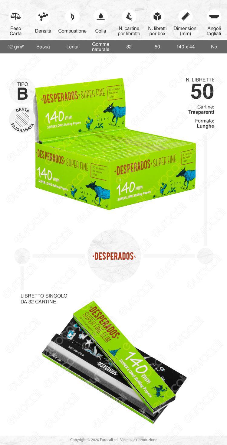 Cartine Desperados Super Fine King Size Slim Lunghe 140mm - Scatola da 50 Libretti