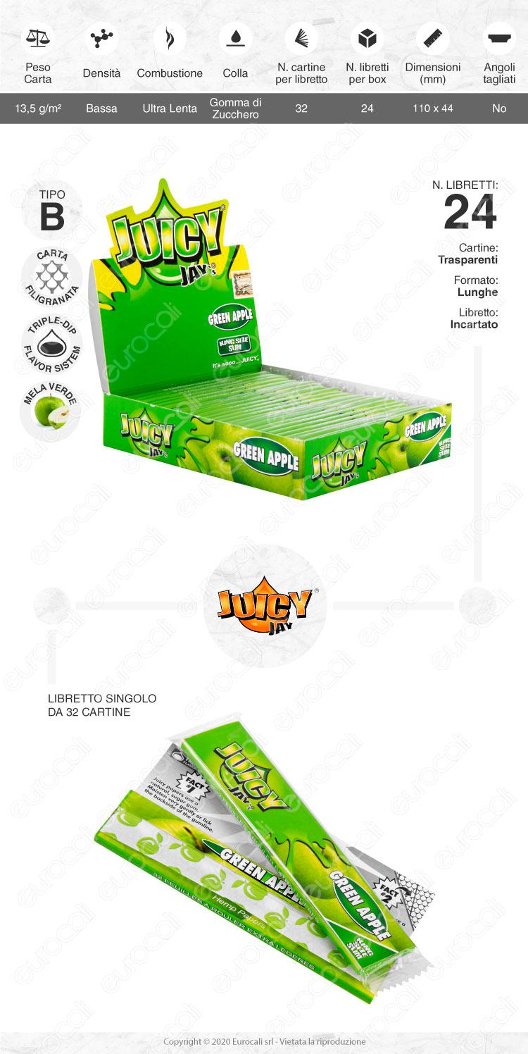 Cartine Juicy Jay's Lunghe King Size Slim Aroma Mela Verde - Libretto Singolo