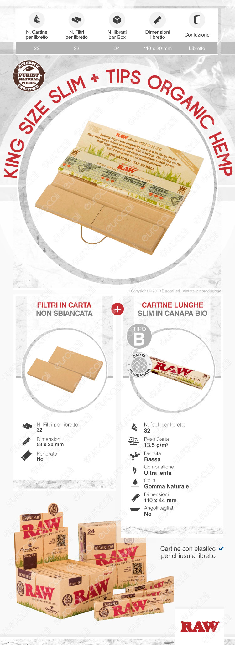 Cartine Raw Classic King Size Slim Lunghe + Filtri
