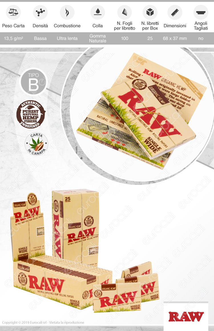 Cartine Raw Organic Hemp Corte Doppie